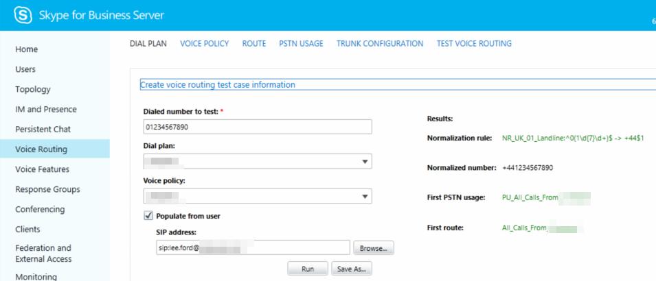 Test-CSOnlineUserVoiceRouting: Test a user's Online Voice
