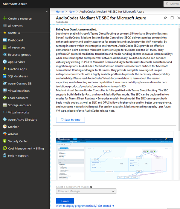 Deploying an AudioCodes SBC in Azure using the Azure
